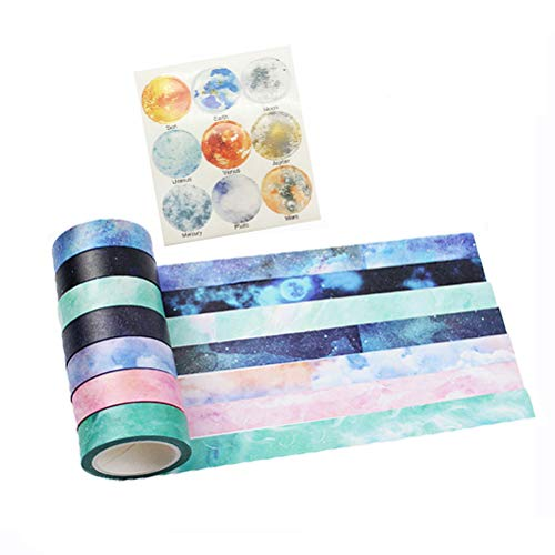 - Washi Tape Set of 7 Rolls - Natural Galaxy Water Color Aurora Decorative DIY Japanese Masking Adhesive Sticky Paper Washi Tape Set (Width: 15mm)