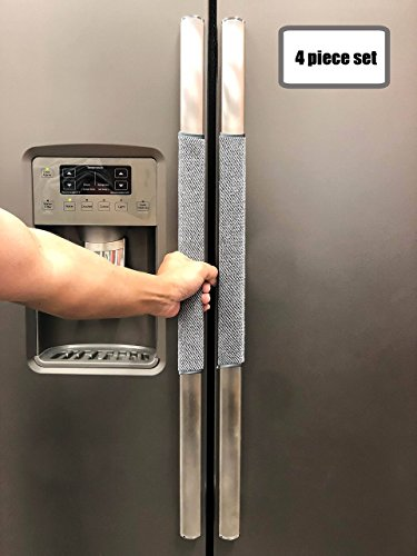 Door Handle Cover Set - FarmCrafts (4 PIECE SET) 100% ORGANIC COTTON Refrigerator door handle covers for 3.5 inch handles kitchen Appliances Fridge Microwave Oven Dishwasher - Smudges & Fingerprints(Light Heather Grey)