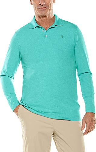 - Coolibar UPF 50+ Men's Long Sleeve Weekend Polo Shirt - Sun Protective (X-Large- Turquoise Heather)