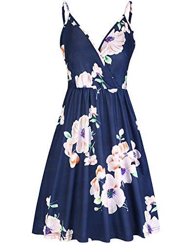 STYLEWORD Women's Summer Deep V Neck Dress Floral Vocation Dress with Pocket