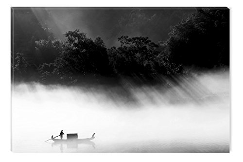 Startonight Canvas Wall Art Black and White Abstract Thai Living, Dual View Surprise Artwork Modern Framed Ready to Hang Wall Art 100% Original Art Painting 23.62 X 35.43 inch by Startonight