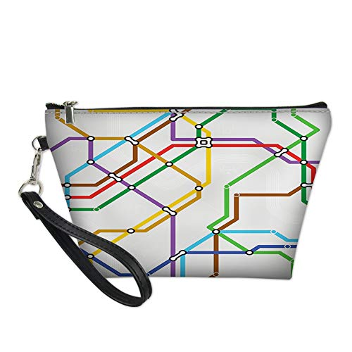 Subway Halloween Bags (Women Toiletry Cosmetic Bag,Stripes in Vibrant Colors Metro Scheme Subway Stations Abstract Railroad Transportation for Travel Makeup Bag Zipper)