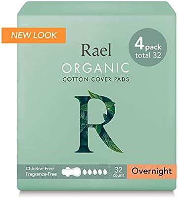 Rael Compresas de 100% algodón ecológico, para noche, ultrafinas ...