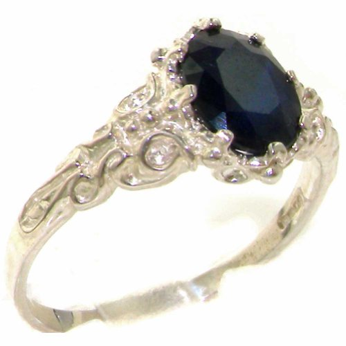 925 Sterling Silver Natural Sapphire Womens Solitaire Ring Sizes 4 to 12 Available
