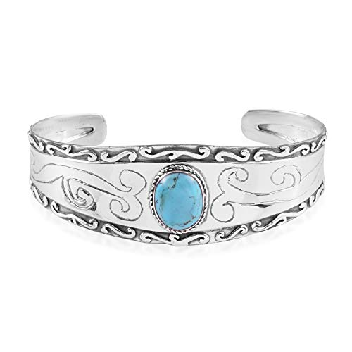 Santa Fe Style Kingman Turquoise 925 Sterling Silver Cuff Bangle Bracelet for Women Jewelry Gift 6.50