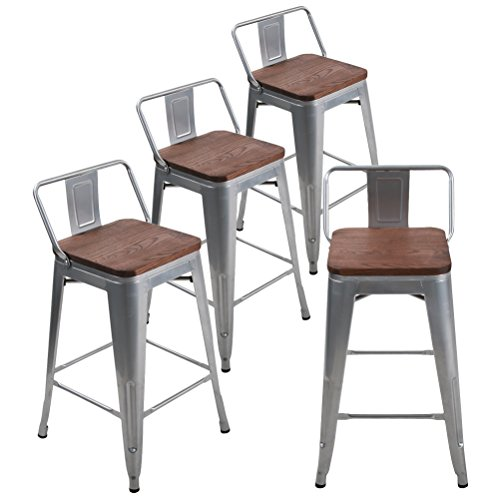 Andeworld Set of 4 Tolix-Style Counter Height Bar Stools Industrial Metal Bar Stools Indoor-Outdoor, Low Back (24 Inch, Silver with Wooden Top)