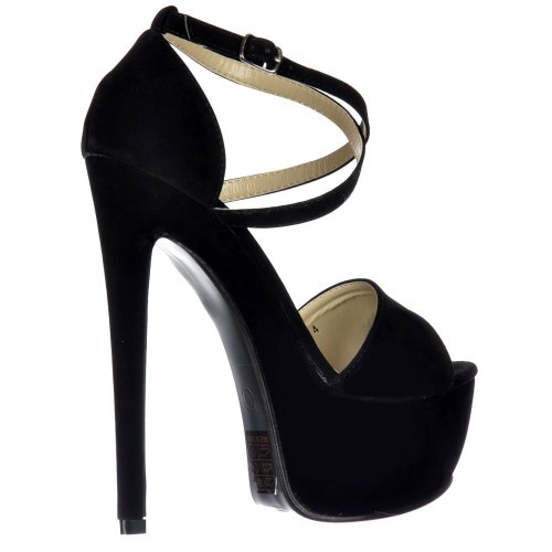 Cruzan Onlineshoe Partido De Talón Del Plataforma La Negro Los Encima Estilete Señoras Zapatos Strappy Mujeres rrRqFZwt