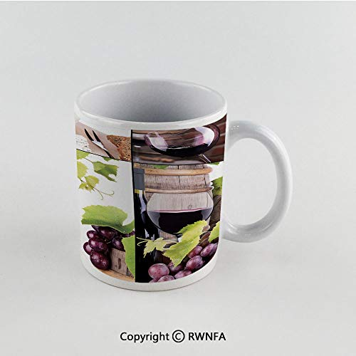 11oz Unique Present Mother Day Personalized Gifts Coffee Mug Tea Cup White Wine,Wine Collage with Barrel Bottle Wineglass Grape Gourmet Taste Beverage Decorative,Burgundy Light Green White Funny Cera ()