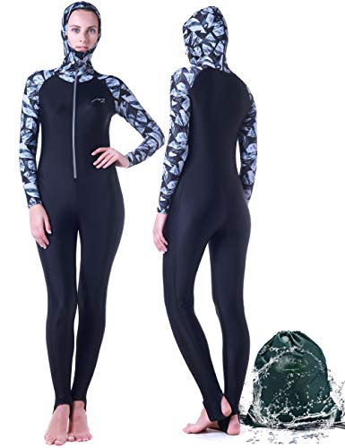 Wetsuit Full Suits for Women or Mens Modest Full Body Diving Suit & Breathable Sports Skins for Running Snorkeling Swimming 1009 (017-girl-black, XL)