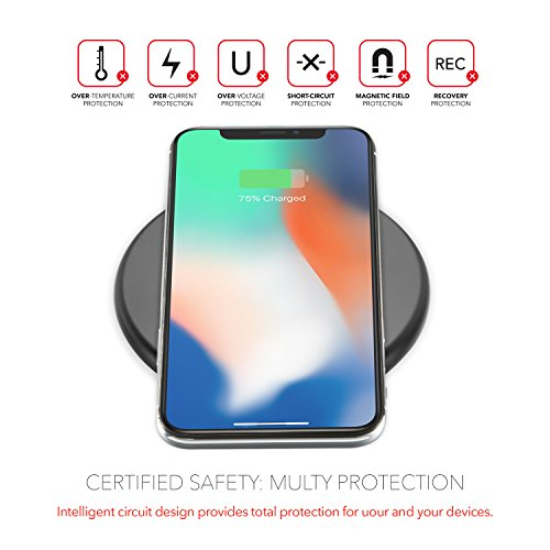 iREIZTEC Wireless Charger Pad, 7.5W Fast Wireless Charger for iPhone X 8 8 plus, 10W Fast Wireless Charger for Galaxy S9 S8 S7 S6 Edge Plus Note 8, and other Qi-enabled devices, no AC Adapter (black) by iREIZTEC (Image #5)