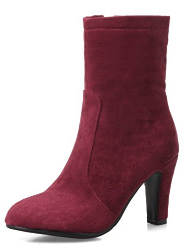 Aisun Womens Simple Faux Suede Round Toe Dressy Inside Zip Up Chunky High Heel Short Boots With Zipper Wine Red