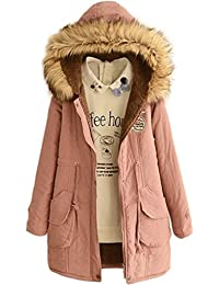 Womens Winter Jacket Casual Thicken Hooded Fleece Lining Zipper Padded Coat