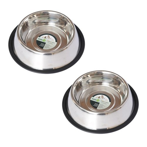 Iconic Pet 4 Cup Stainless Steel Non-Skid Pet Bowl for Dog or Cat (2 Pack), 32 oz