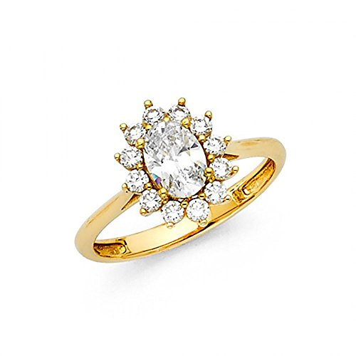 14k Yellow Gold Oval CZ Classic Cathedral Halo Solitaire Engagement Ring Cathedral Solitaire Engagement Ring