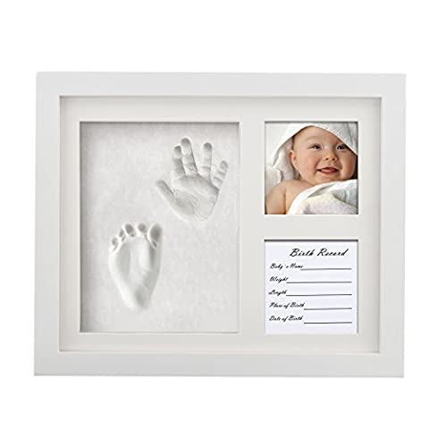 Baby Handprint and Footprint Keepsake Picture Frame by Ropellian - Preserve those Precious Memories for you & your (Imprint Baby)