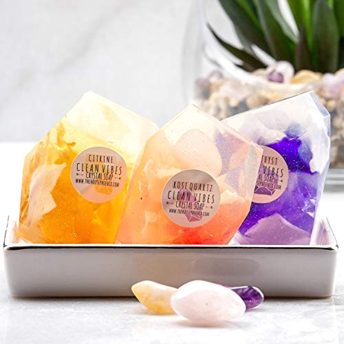 A Real Gemstone In Each Vegan Crystal Soap Citrine Amethyst Rose Quartz Birthday Gift Set of 3 (4oz)