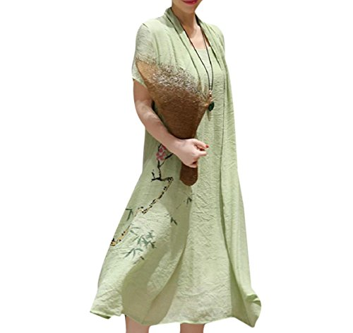 Pieces Two Fake Women Dress Chinese Style Patterned Coolred Green Maxi Linen TqPIwwZ