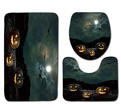 Halloween Carnival Night KIKOY Toilet Seat Cover and Rug Bathroom Set Halloween -