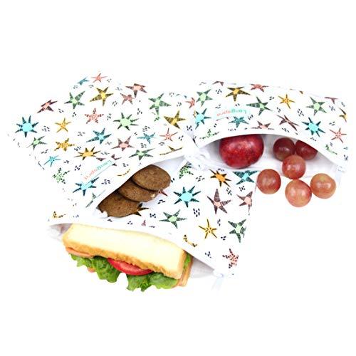 - Langsprit Premium Reusable Sandwich & Snack Bags- Eco Friendly Dishwasher Safe Lunch Bags - Set of 3 - (Star)