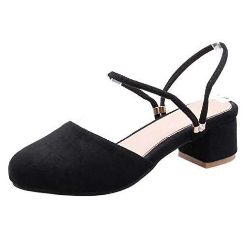 COOLCEPT Mujer Moda Correa de Tobillo Sandalias Cerrado Slingback Tacon Ancho Zapatos Negro