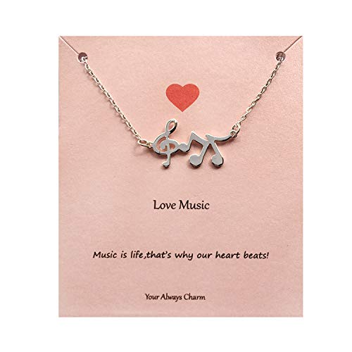(Your Always Charm Music Lover Gifts,Treble Clef Music Note Necklace 16