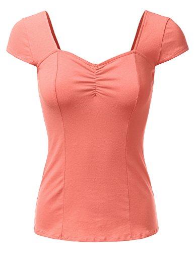 Water Womens Cap Sleeve T-shirt - DRESSIS Sweetheart Cap Sleeve Top DKPEACH XL