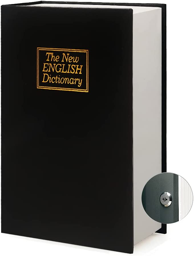Leather Book Safe Real Paper Secret for Jewelry, Money and Cash, Diversion Book Safe ,Hollow with Hidden,Key or Combination Lock (Large, Black Dictionary - Key Lock)