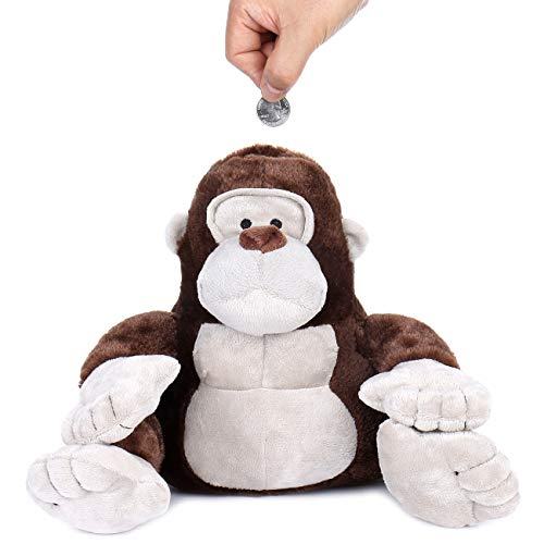 - Gorilla Plush Piggy Bank with Sound for Kids, Lively Gorilla Laugh When Coin is Dropped in, Cute and Lovely Animal Toy Savings Bank, Soft and Cozy Plush, Coin Money Bank