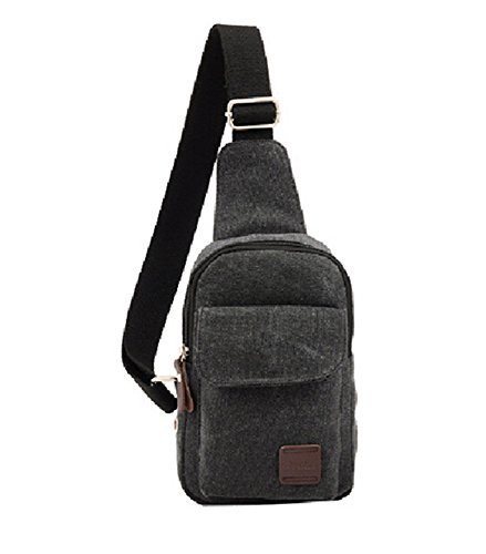 414ed842894 Kalevel New Outdoor Sports Bag Casual Canvas Backpack Crossbody Sling Bag  Single Shoulder Bag Messenger Bag for Men (Black) - Buy Online in UAE.
