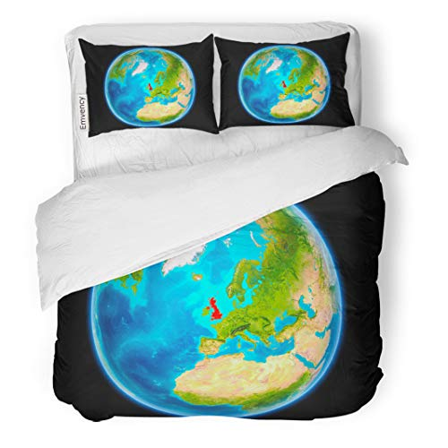 Semtomn Decor Duvet Cover Set King Size United Kingdom in Red on Planet Earth As Seen from Space Full Sphere 3D of This 3 Piece Brushed Microfiber Fabric Print Bedding -