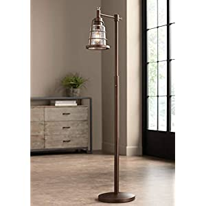 Averill Park Rustic Farmhouse Downbridge Floor Lamp Oiled Bronze Seedy Glass Shade LED Edison Bulb Dimmable for Reading – Franklin Iron Works