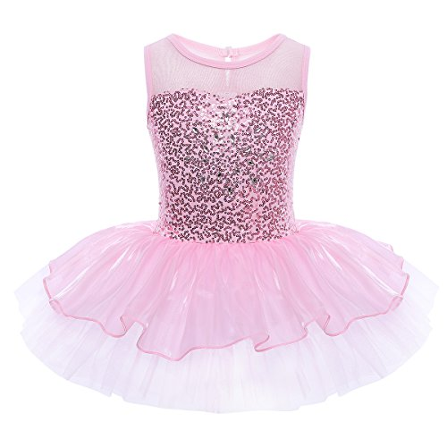 Floral Ballerina Dress - YiZYiF Kids Girls' Sequin Ballet Dress Dancewear Costume with Chiffon Leotard (6, Tutu Pink)