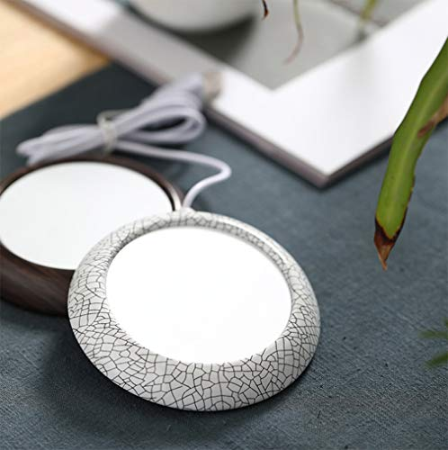UNIKbrush USB Coffee Mug Warmer Coaster Electric Heat Mug Milk Tea Beverage Heating Plate wood for Office Home christmas gift (FRAGMENTATION)