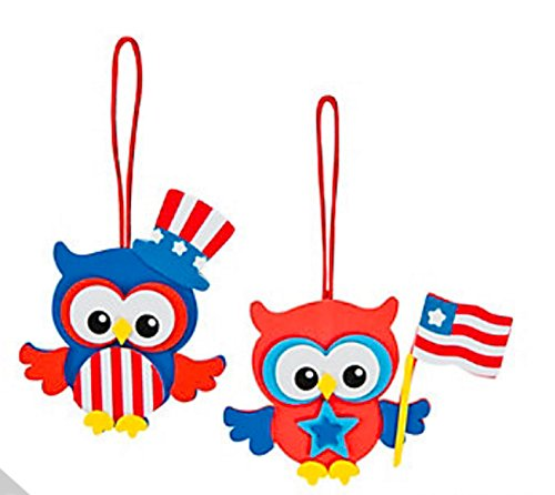 Foam Patriotic Owl Ornament Craft Kit (Makes 12) 4th Of (Ornament Foam Craft)