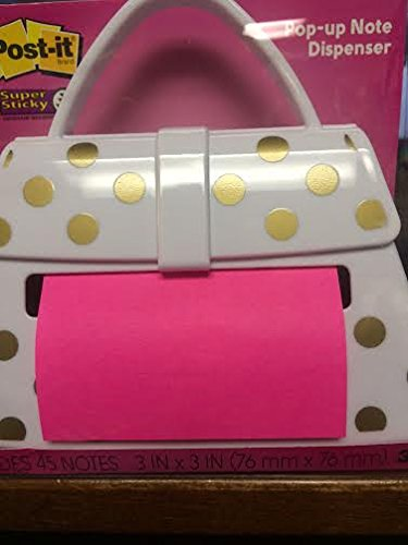 Post It Pop Up Note Dispenser White Purse With Gold Dots Import It All