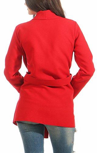 One 3051 3050 Size Veste Rouge Femme Cardigan Long Cascade Manteau Malito design PTZqBx8