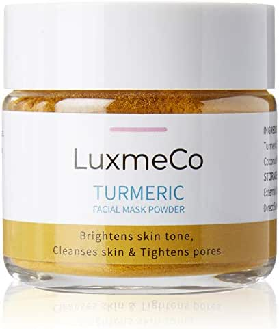 LuxmeCo All Natural Skin Brightening Turmeric Facial Mask and Scrub Powder | with Betonite Clay, Lemon, Honey & Coconut Powder | Softens, Detoxify, and Cleans | Brighter Apppearnace| Mask and Scrub
