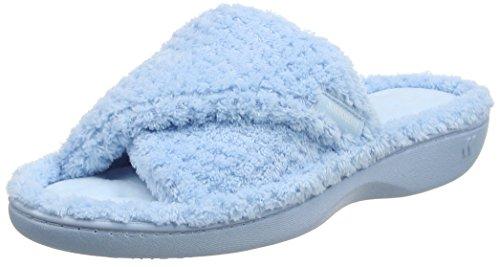 Isotoner Damen Ladies Popcorn Open Toe Slipper Pantoffeln Blue (Light Blue)