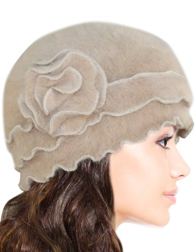 Dahlia Women's Super Soft Flower Laciness Knit Beanie Hat - Camel