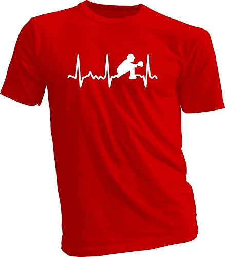 Baseball Heartbeat Pitcher, Catcher, Batter T-Shirt (Youth M - 10/12, Red (Loom Lofteez Youth T-shirt)