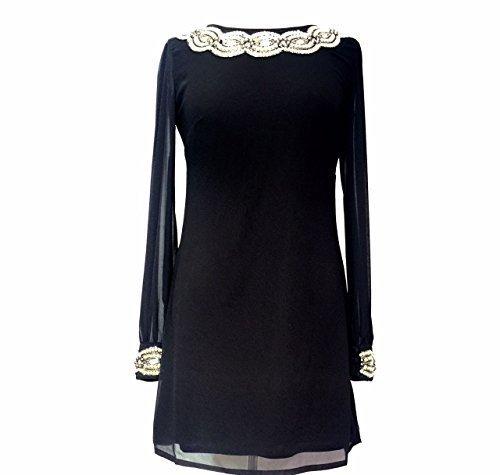 Ladies 1970de estilo vintage Negro Beaded Sequin Shift vestido negro