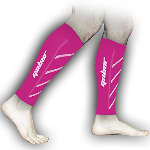 Gabor Fitness Graduated 20-25mm Hg Compression Running Leg Sleeves, Small, Pink