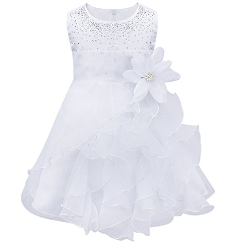 winying Baby Girls Sleeveless Satin Organza Tutu Dress Flower Girl Birthday Baptism Dress White 9-12 Months