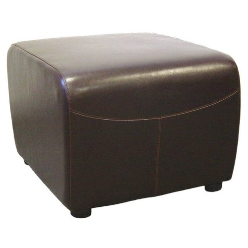 - Baxton Studio Full Leather Ottoman, Dark Brown