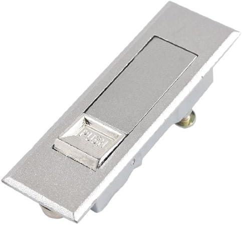 uxcell 平面ハンドル プッシュハンドル 鍵付き キャビネット用 シルバートーン