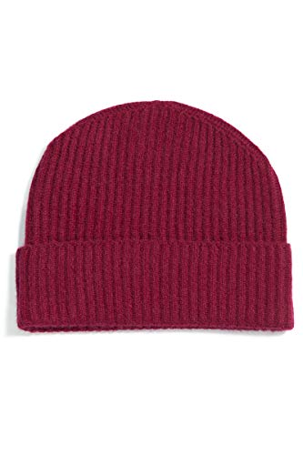 Fishers Finery Men's 100% Cashmere Winter Hat; Cuffed; Ribbed (Red),One Size Fits Most