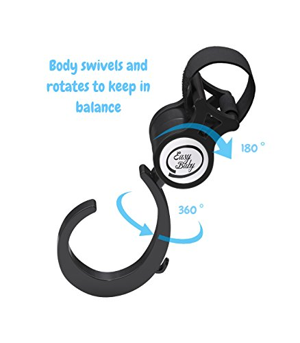 Stroller Hook - 2 Pack of Multi Purpose Hooks - Hanger for Baby Diaper Bags, Groceries, Clothing, Purse - Great Accessory for Mommy when Jogging, Walking or Shopping by Easy Baby (Image #5)