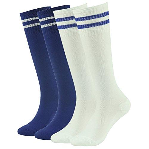 (Football Tube Socks,Kids Teens Cotton Knee High Team Sport Socks Children Sports Socks saillsen 4 Pairs Blue White)