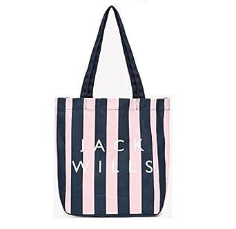 Jack Wills Ambleshire book bag pink and navy stripe: Amazon.co.uk ...