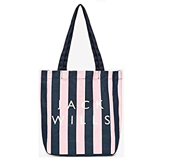 868b575a4 Jack Wills Ambleshire book bag pink and navy stripe: Amazon.co.uk: Clothing